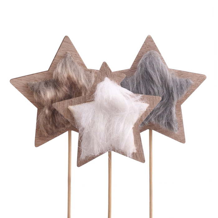 <h4>Christmas sticks 10cm Star furry 8.5cm ass.</h4>