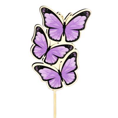 <h4>Pique papillon Trio bois 8x5cm+12cm bâton lilas</h4>