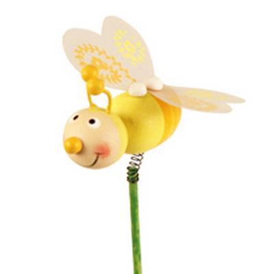 <h4>Pique Abeille bois 5,5x5,5cm+bâton 50cm jaune</h4>