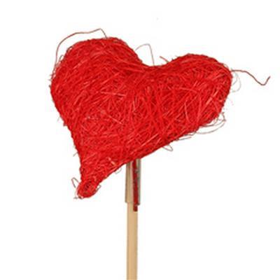 <h4>Cœur de Valentine sisal 8x8cm sur tige 50cm rouge</h4>