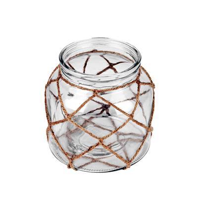 <h4>Vase Marrakesh verre+corde Ø16xH15,5cm transparant</h4>