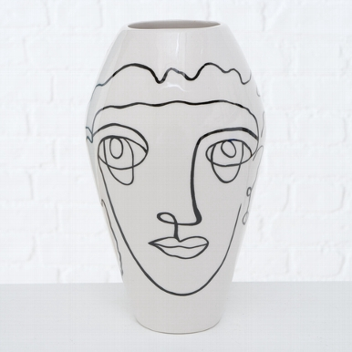 <h4>Vase Tipton , H 22 cm, Dolomite, Black, White dolomite colour-mix</h4>