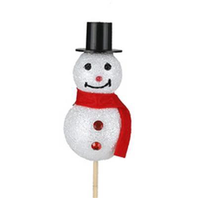 <h4>Pique bonhomme de neige 8x4cm + bâton 50cm blanc</h4>