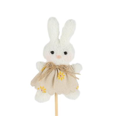 <h4>Bijsteker Bunny Pluche 11x6cm+12cm stok wit</h4>