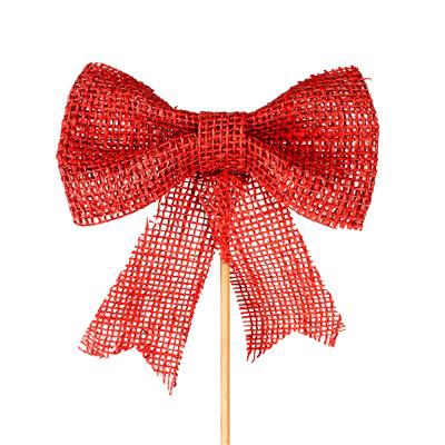 <h4>Bijsteker jute strik 17x15cm+50cm stok rood</h4>
