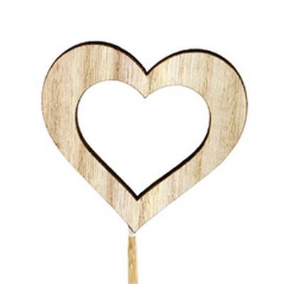 <h4>Bijsteker hart open hout 6,5x7cm+12cm stok</h4>