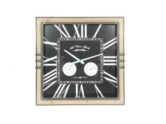 <h4>Clock Wood/mtl 62x62cm Nat/blk</h4>