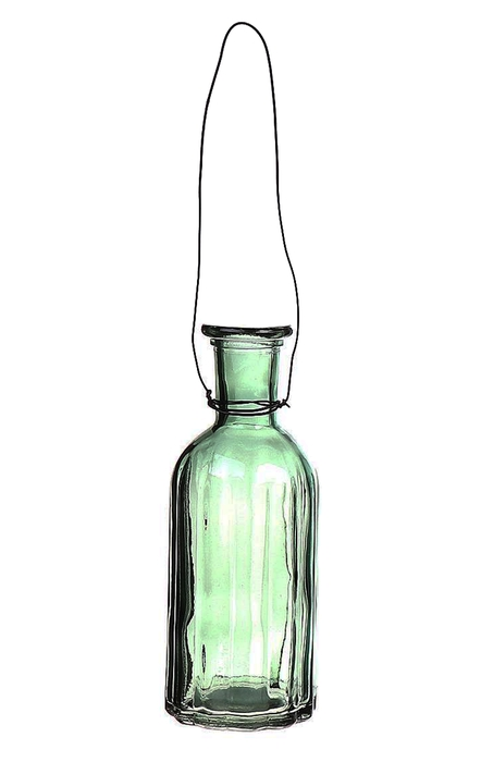 <h4>DF663031700 - Hanging bottle Louvre2 d7.4xh19 green</h4>