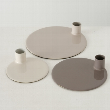 <h4>Candle holder Jaryn, Round, H Quantity in set: 1; 3,50 cm, Iron laquered, Grey iron laquered grey</h4>