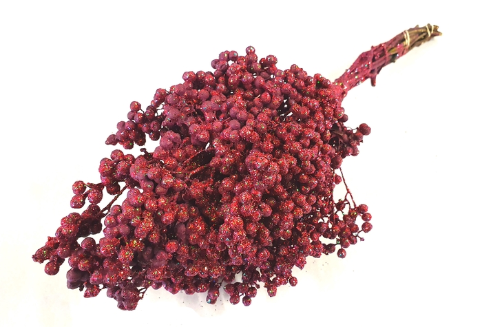 <h4>Pepperberries per bunch in poly bordeaux with glitter</h4>