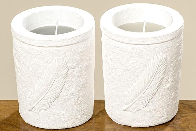 <h4>Candle pot  Feder, 2 ass., H 11 cm, D 9 cm, Wax, Grey Wax grey</h4>