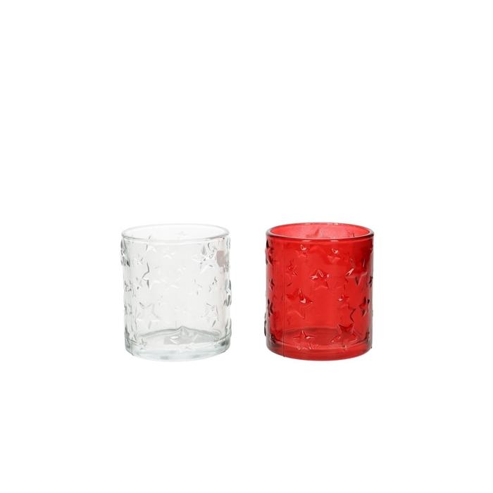 <h4>Theelichth. Glas deco ster d7*8cm 2ass.</h4>