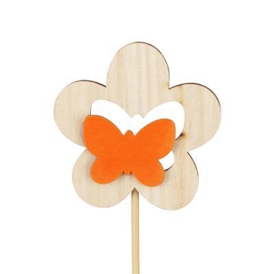 <h4>Bijsteker bloem hout+velvet 7cm+12cm stok oranje</h4>