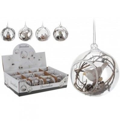 <h4>Christmas bauble Ball deco bird 80mm 4ass</h4>