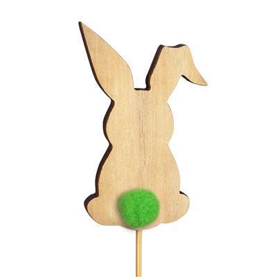 <h4>Bijsteker Bunny pompon hout 8x5cm+12cm stok groen</h4>