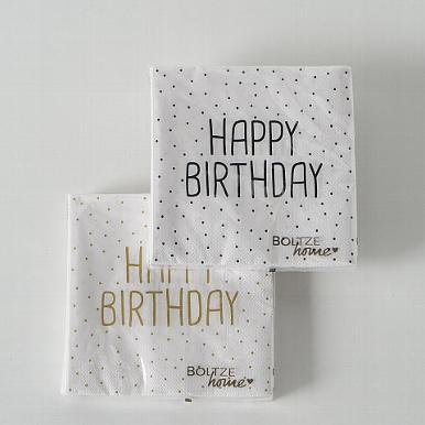 <h4>Napkins Birthday, 20 p., 2 ass., Black, White, Paper paper colour-mix</h4>