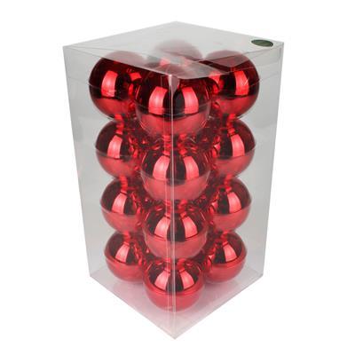 <h4>Boules de Noël 80mm brillantes rouge 16 pcs.</h4>
