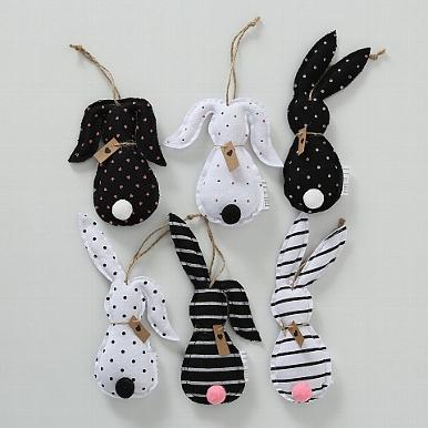 <h4>Hanging figurine Hase, 6 ass., Rabbit, H 18 cm, L 8 cm, Cotton cotton colour-mix</h4>