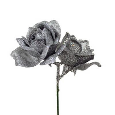<h4>Pique Rose 2x Ø4cm+10cm sur tige argent - 24 pc</h4>