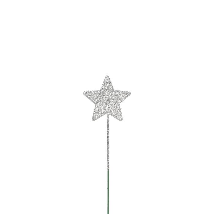 <h4>Kerst Glitter ster/draad 40mm x60</h4>