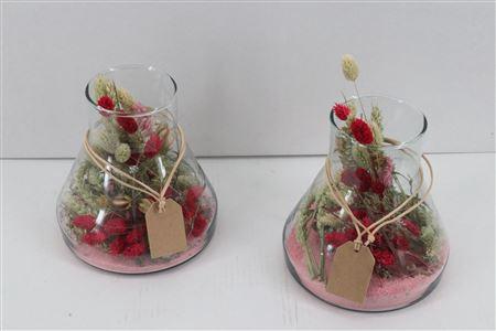 <h4>Arr. Dried Flowers Glass Mini Paris Roze</h4>