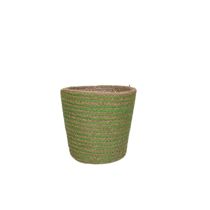 <h4>Baskets Pot hessian stripes d13.5*12.5cm</h4>