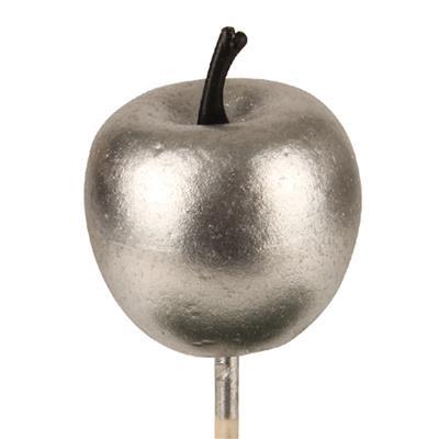 <h4>Bijsteker appel glans foam 4cm+12cm stok zilver</h4>