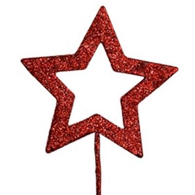 <h4>Étoile ouvert ø9cm + pique 50cm paillettes rouge</h4>