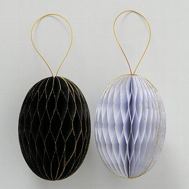 <h4>Decorative pendant Sander, 2 ass., Egg, H 12 cm, D 8 cm, Paper paper colour-mix</h4>