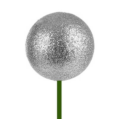 <h4>Bals de Noël Ø6cm d'argent glitter sur tige 50cm</h4>