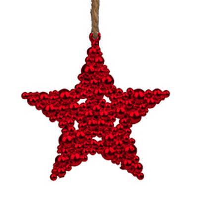<h4>Hanger kerstster bubbles 9,5x9,5cm rood</h4>