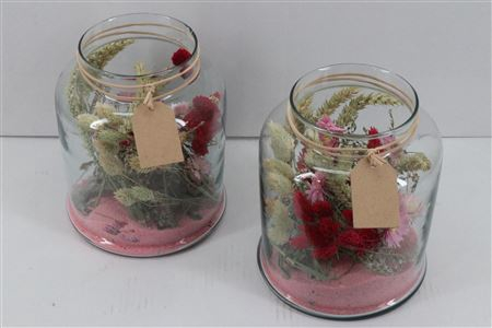 <h4>Arr. Dried Flowers Glass Venice Rose</h4>
