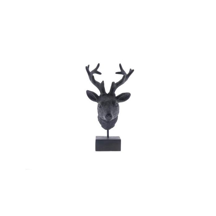<h4>Deerhead+stand 16x14x30cm Blk</h4>