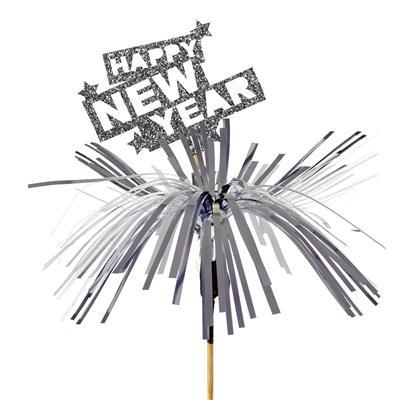 <h4>Bijsteker Happy New Year foam 6x8cm+50cm stok zilv</h4>