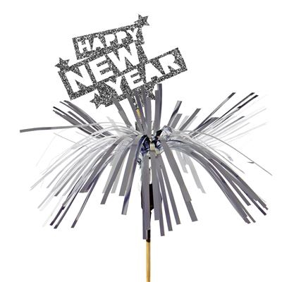 <h4>Pique Happy New Year foam 6x8cm+12cm bâton argent</h4>