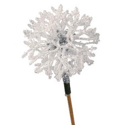 <h4>Cristal de glace Ø6cm sur 10cm pique glitter blanc</h4>