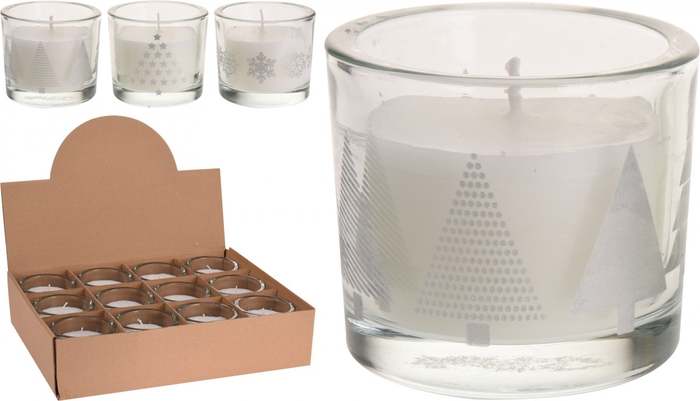 <h4>Candle Glass christmasdeco d9*8cm ass</h4>