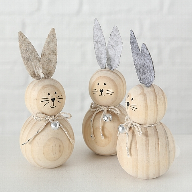 <h4>Figurine Benji, 3 ass., Rabbit, H 13 cm, Baltic redwood (Pinus sylvestris), Natural scots pine natural</h4>