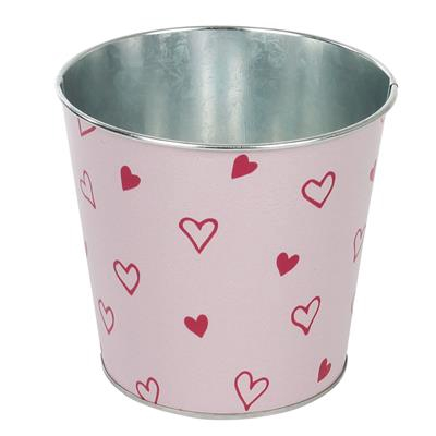 <h4>Pot Love story zinc D13,3xH12,3cm ES12 rouge/rose</h4>