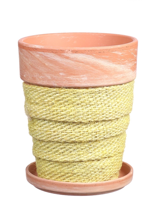 <h4>DF010057537 - Pot+saucer Lilo+jute yellow d11.6cm</h4>