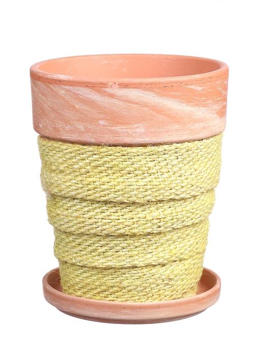 <h4>DF010057537 - Pot+saucer Lilo+jute yellow d11.6xh14.8</h4>