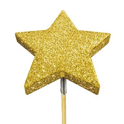 <h4>Bijsteker glitter ster foam Ø7cm+12cm stok goud</h4>