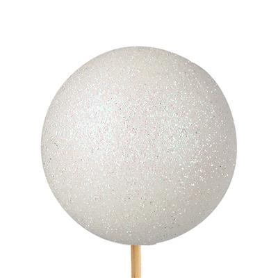 <h4>Bijsteker Kerstbal glitter Ø6cm+50cm stok wit 100</h4>