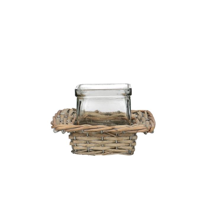 <h4>Glass Basket+1cube square d7.5*7.5cm</h4>