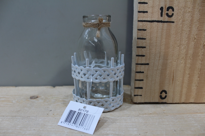 <h4>METAL RACK ROUND WHITE WITH GLASS BOTTLE H11 D6.5 10080176</h4>