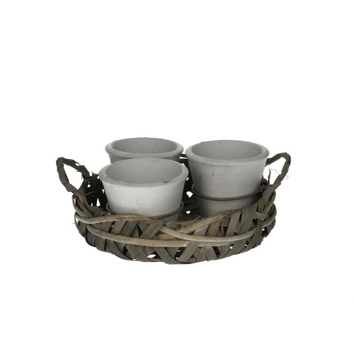 <h4>Ceramics Basket+3top d9*8cm round</h4>