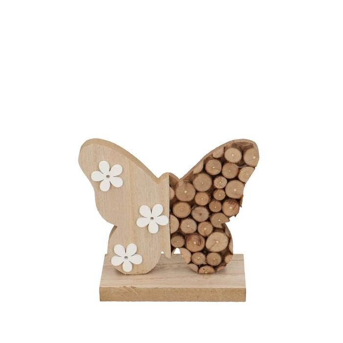 <h4>Voorjaar Vlinder hout/voet 13*12.5cm</h4>