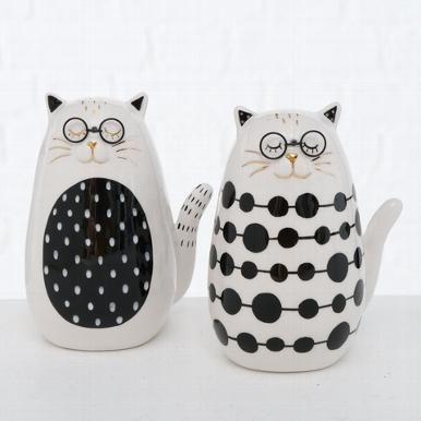 <h4>Figurine Catinca, 2 ass., Cat, H 12,00 cm, Dolomite, Black, White dolomite colour-mix</h4>