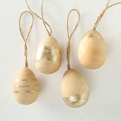 <h4>Decorative pendant Goldina, 4 ass., Egg, H 6 cm, D 4 cm, Baltic redwood (Pinus sylvestris) scots pine gold</h4>