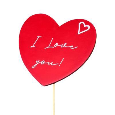 <h4>Bijsteker I Love You hout 8x9cm+12cm stok rood</h4>